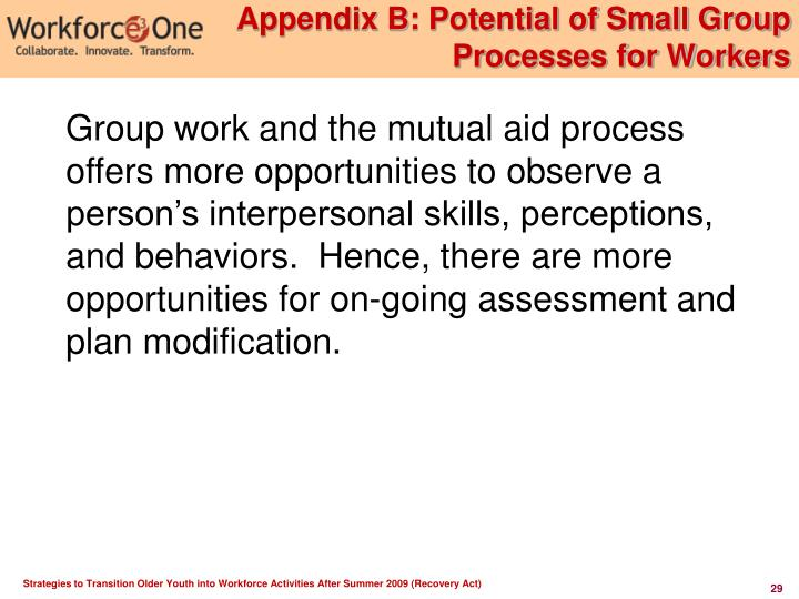 Appendix B: Potential of Small Group Processes for Workers