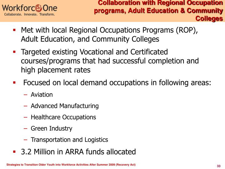 Collaboration with Regional Occupation programs, Adult Education & Community Colleges