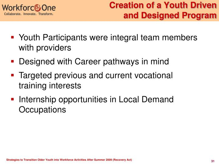 Creation of a Youth Driven