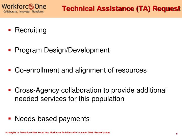 Technical Assistance (TA) Request