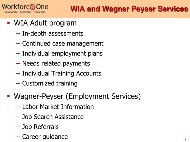 WIA and Wagner Peyser Services