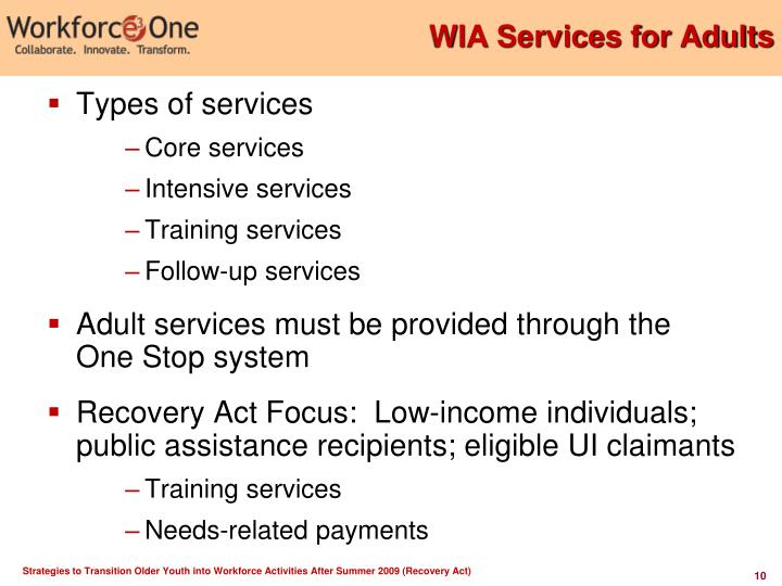 WIA Services for Adults
