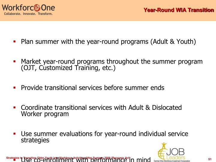 Year-Round WIA Transition