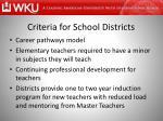 criteria for school districts