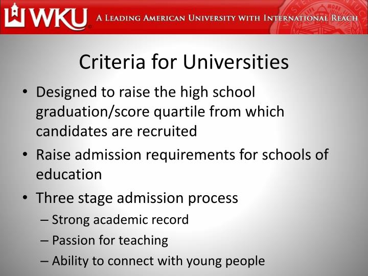 Criteria for Universities