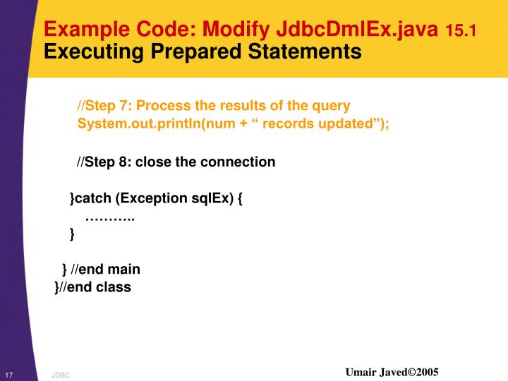 Example Code: Modify JdbcDmlEx.java