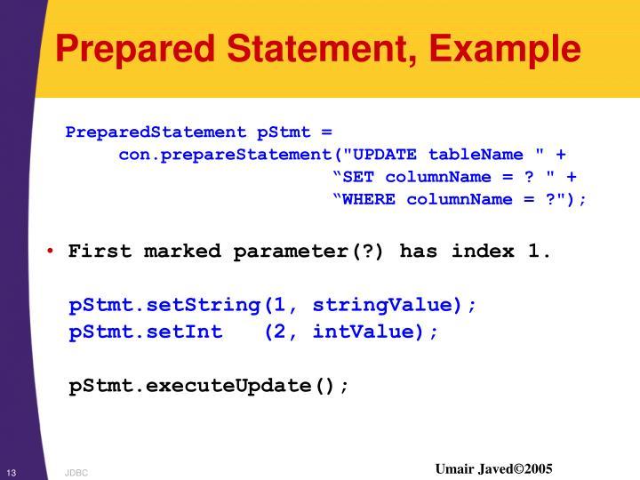 Prepared Statement, Example