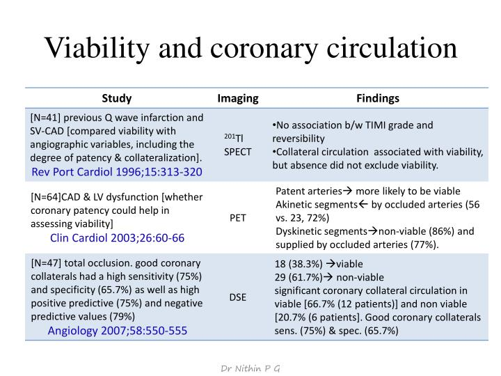 Viability and coronary circulation