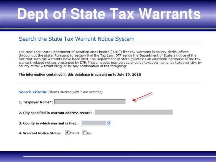 Dept of State Tax Warrants