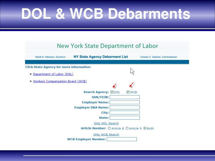 DOL & WCB Debarments