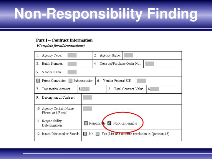 Non-Responsibility Finding