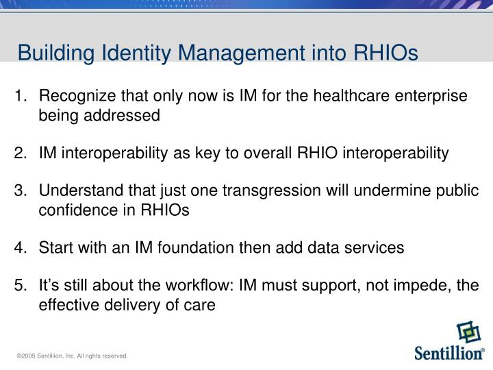 Building Identity Management into RHIOs