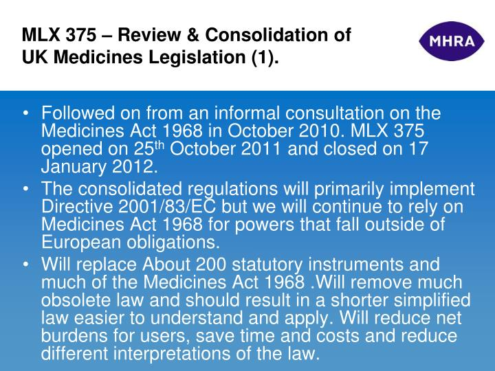 MLX 375 – Review & Consolidation of UK Medicines Legislation (1).