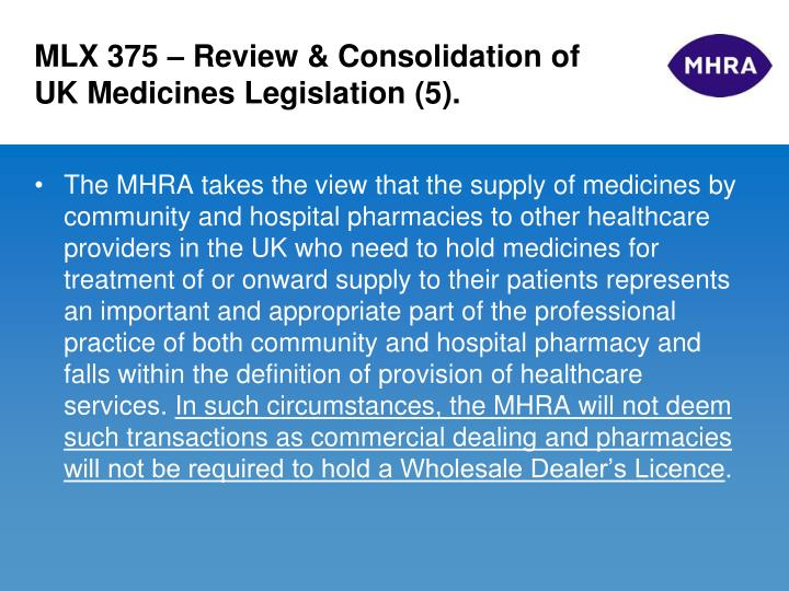 MLX 375 – Review & Consolidation of UK Medicines Legislation (5).