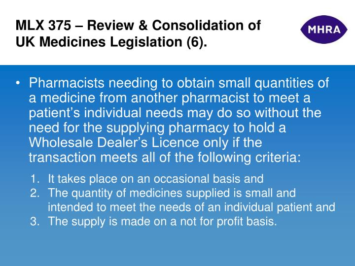 MLX 375 – Review & Consolidation of UK Medicines Legislation (6).