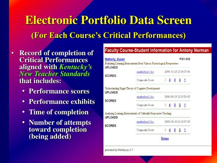 Electronic Portfolio Data Screen