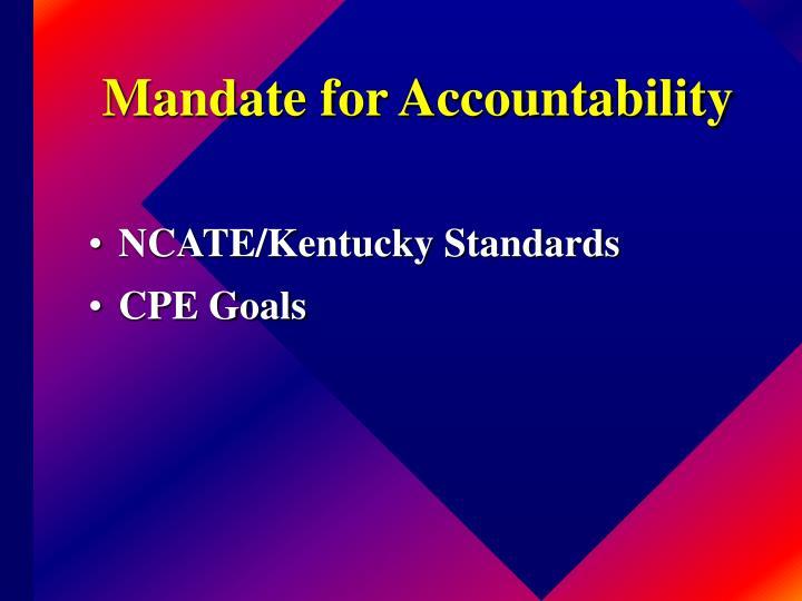 Mandate for Accountability
