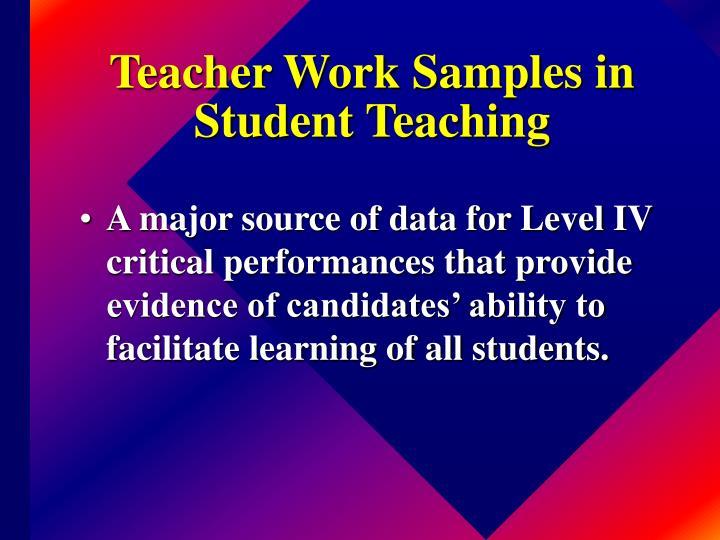 Teacher Work Samples in Student Teaching