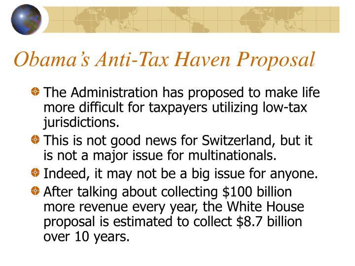 Obama's Anti-Tax Haven Proposal