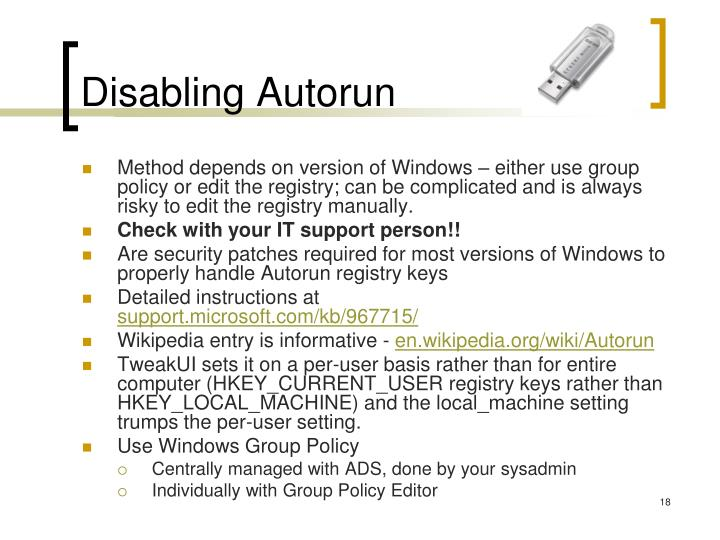 Disabling Autorun