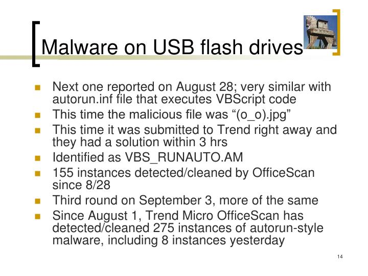 Malware on USB flash drives