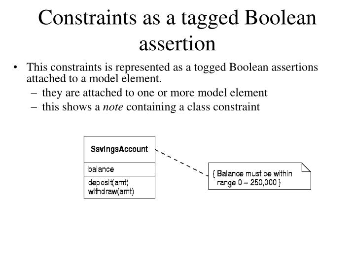 Constraints as a tagged Boolean assertion
