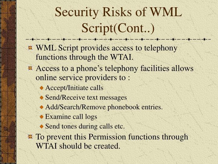 Security Risks of WML Script(Cont..)