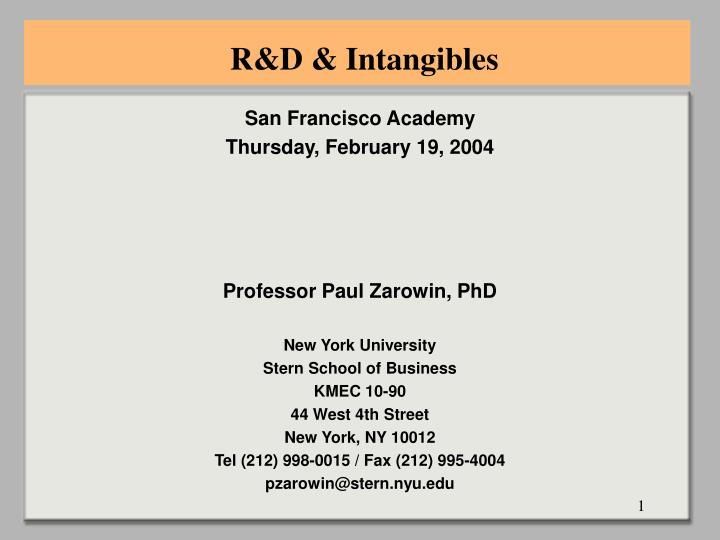 R&D & Intangibles