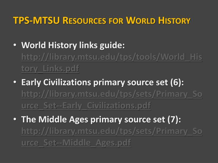 TPS-MTSU Resources for World History