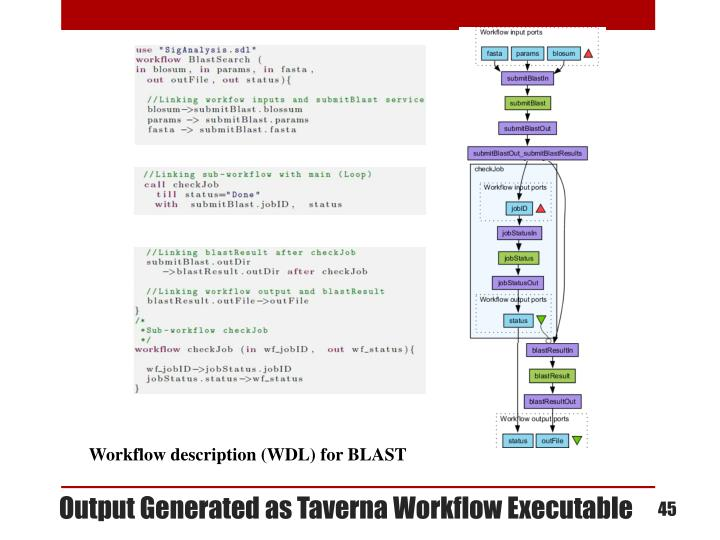 Output Generated as Taverna Workflow Executable