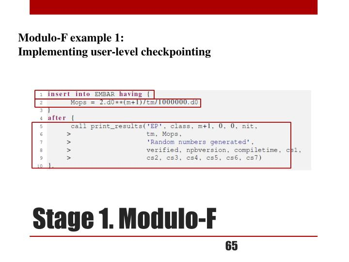 Modulo-F example 1: