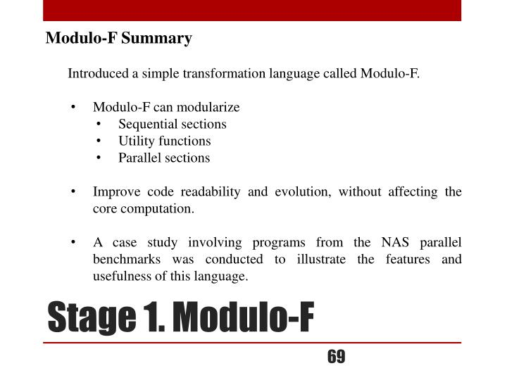 Modulo-F Summary