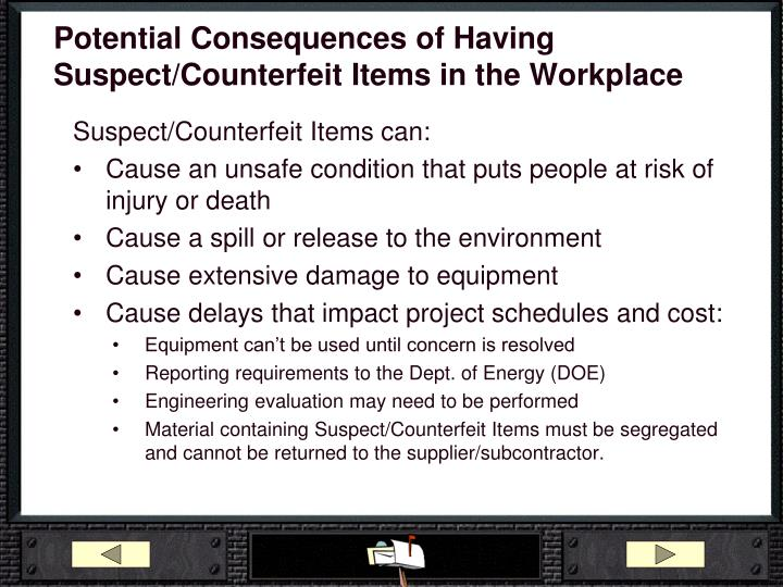 Potential Consequences of Having Suspect/Counterfeit Items in the Workplace
