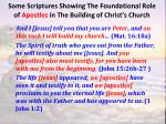 some scriptures showing the foundational role of apostles in the building of christ s church