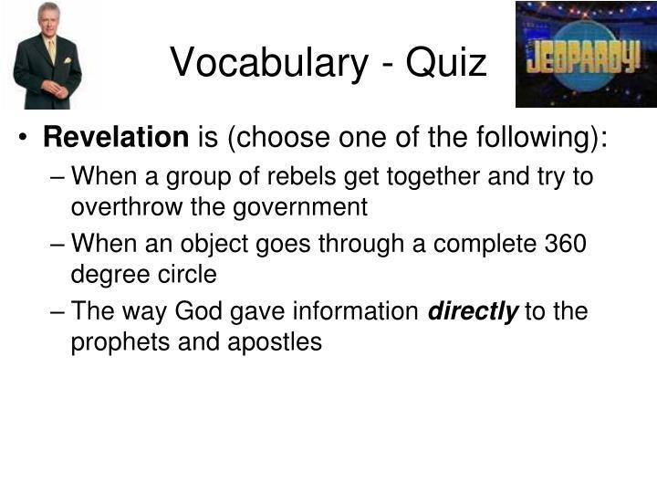 Vocabulary - Quiz