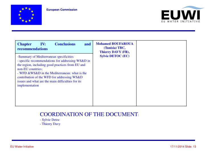 COORDINATION OF THE DOCUMENT