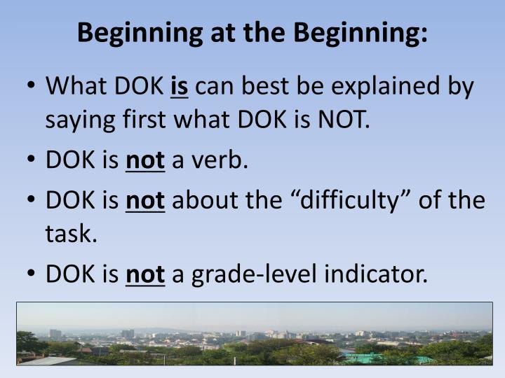 Beginning at the Beginning: