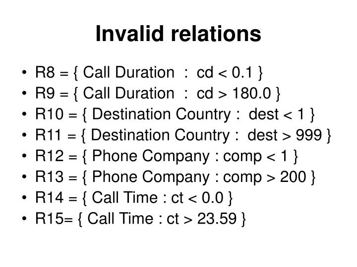 Invalid relations