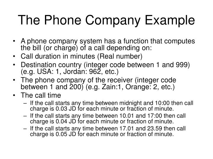 The Phone Company Example