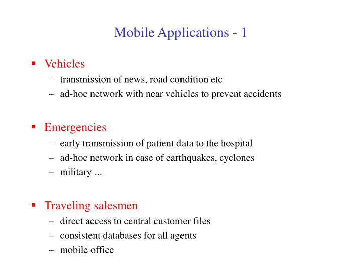 Mobile Applications - 1