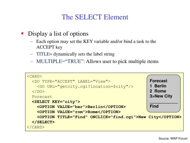 The SELECT Element