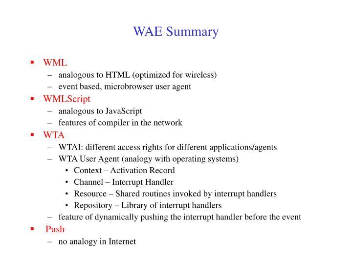 WAE Summary