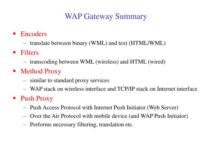 WAP Gateway Summary