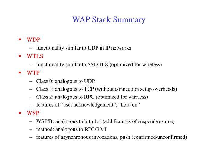 WAP Stack Summary