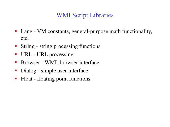 WMLScript Libraries
