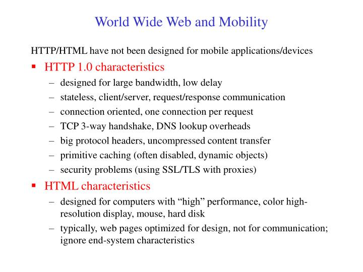 World Wide Web and Mobility