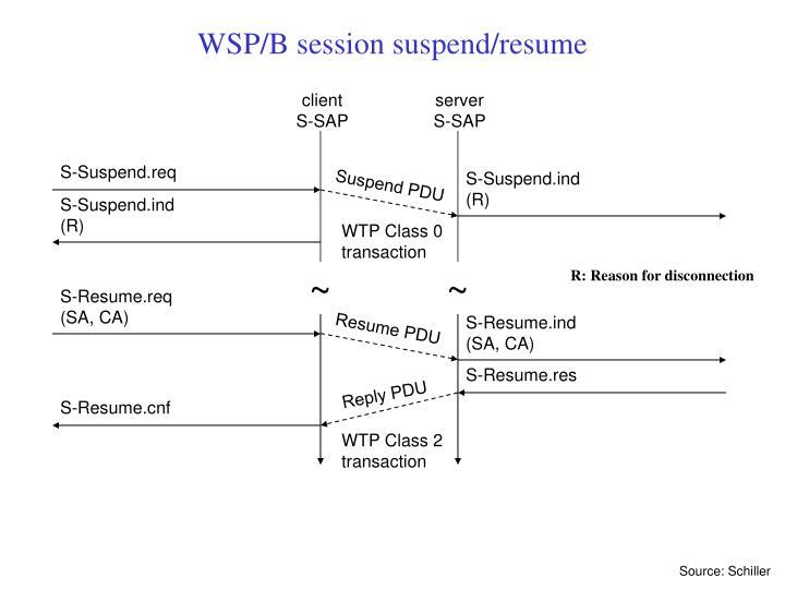WSP/B session suspend/resume