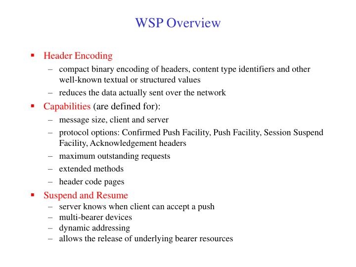 WSP Overview