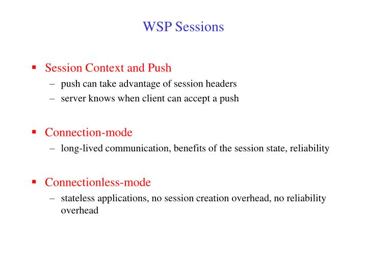 WSP Sessions