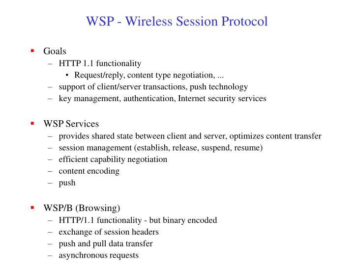 WSP - Wireless Session Protocol